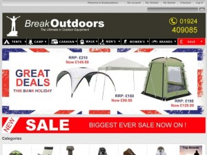 Screenshot of Break Outdoors website (2 Jul 2012)