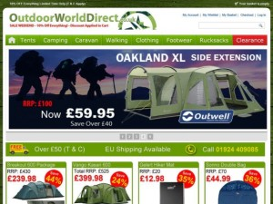 Screenshot of Outdoor World Direct website (2 Jul 2012)