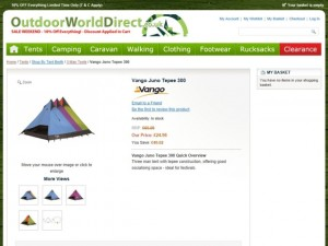 Typical product information at Outdoor World Direct (2 Jul 2012)