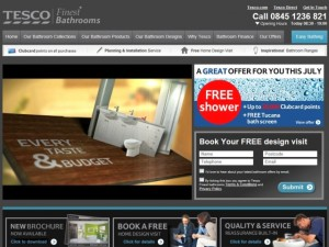 Screenshot of Tesco Finest Bathrooms website (5 Jul 2012)