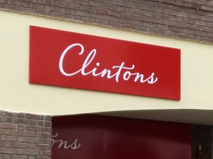 New Clintons signage at Stowmarket (2 Aug 2012). Photograph by Graham Soult