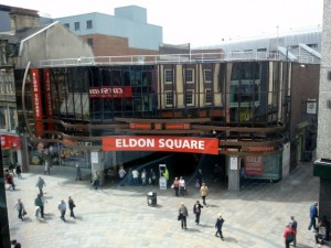 Existing Eldon Square entrance, from BHS Cafe (2 Jul 2012). Photograph by Graham Soult