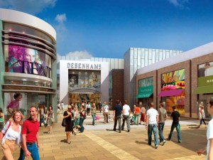 Early artist's impression of Friarsgate, with Debenhams. Source: Harrison