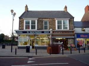 Hocking butcher's shop in Spennymoor (5 Jan 2012). Photograph by Graham Soult