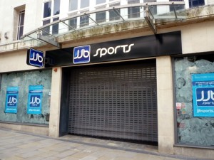 Closed-down JJB Sports on Sheffield's The Moor (18 Aug 2011). Photograph by Graham Soult