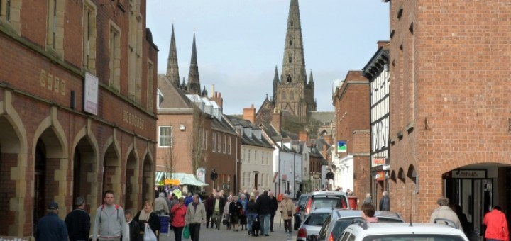 Cathedral and Conduit Street, Lichfield (19 Mar 2010). Photograph by Graham Soult