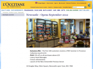 Newcastle page on L'Occitane en Provence website (7 Aug 2012)
