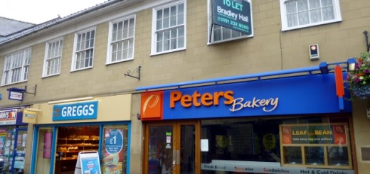 Closed-down Peters Bakery - and Greggs - in Hexham (25 Aug 2012). Photograph by Graham Soult