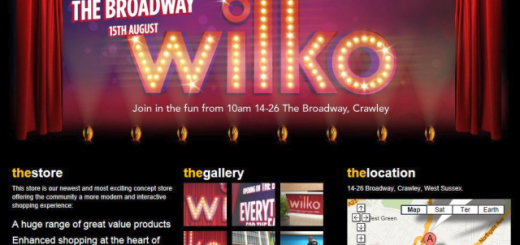 Promotion for Crawley store on Wilkinson website (15 Aug 2012)