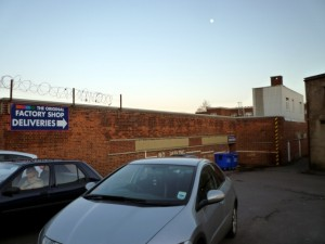Rear of The Original Factory Shop, Spennymoor (5 Jan 2012). Photograph by Graham Soult