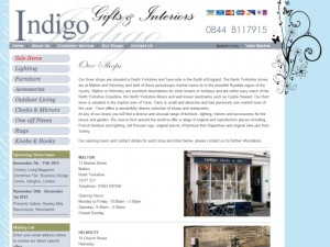 Screenshot of Malton-based Indigo Gifts & Interiors website (30 Aug 2012)