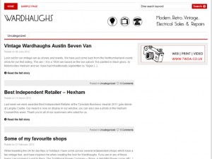 Screenshot of Wardhaughs of Hexham's blog (31 Aug 2012)