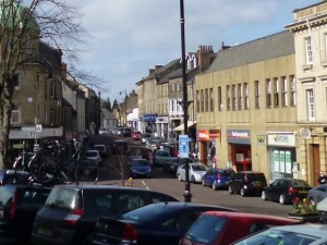 A similar view of Alnwick's Bondgate Within today (31 Mar 2012). Photograph by Graham Soult