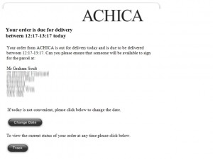 Achica delivery email from DPD (7 Sep 2012)