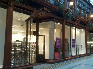 Central Arcade frontage of Jones Bootmaker, Newcastle (24 Oct 2012). Photograph by Graham Soult
