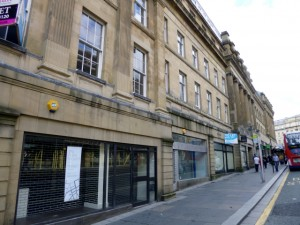 Empty shops in Market Street, Newcastle (22 Aug 2012). Photograph by Graham Soult