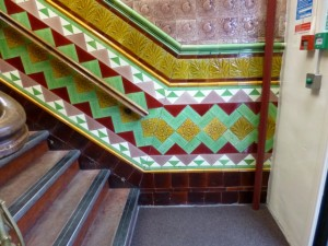 Staircase inside Tamworth Co-op's 1903 building (21 Dec 2012). Photograph by Graham Soult
