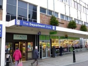 Main entrance of Tamworth Co-op (21 Dec 2012). Photograph by Graham Soult