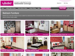 Bedroom furniture on the Walmsley's website (5 Dec 2012)