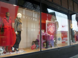 Shop window at Chesterfield Co-op (10 Nov 2011). Photograph by Graham Soult