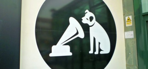 Nipper logo at HMV in Coventry (7 Feb 2012). Photograph by Graham Soult