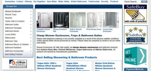 Shower Enclosures UK website (30 Jan 2013)