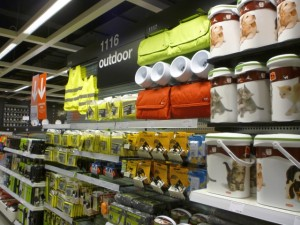 Outdoor products at Clas Ohlson in Newcastle (24 Aug 2011). Photograph by Graham Soult