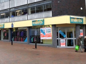 Closing-down Millets in Stafford (3 Feb 2013). Photograph by Graham Soult