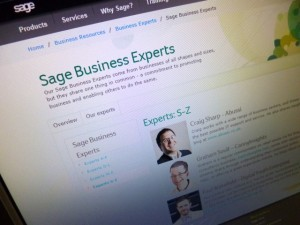 Sage Business Experts website (11 Dec 2012). Photograph by Graham Soult