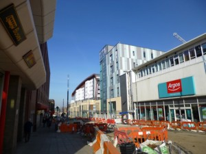 Gateshead's Trinity Square takes shape beyond the existing Argos store (17 Feb 2013). Photograph by Graham Soult