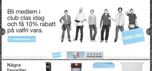 Club Clas promotion on Clas Ohlson's Swedish website (12 Mar 2013)