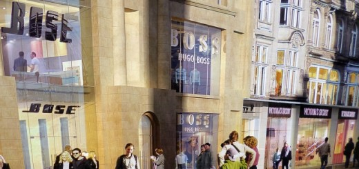 Poster showing Bose and Hugo Boss at Monument Mall, Newcastle (3 Mar 2013). Photograph by Graham Soult
