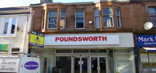 Former Woolworths and Poundsworth, Girvan (21 Nov 2012). Photograph by Graham Soult