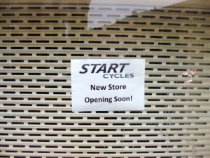 Start Cycles sign in former Blacks, Market Street, Newcastle (3 Mar 2013). Photograph by Graham Soult