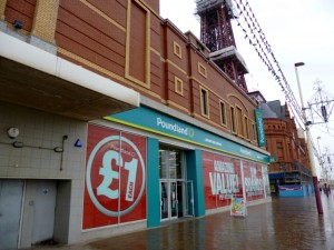 Former Woolworths and TJ Hughes (now Poundland), Blackpool (9 May 2012). Photograph by Graham Soult