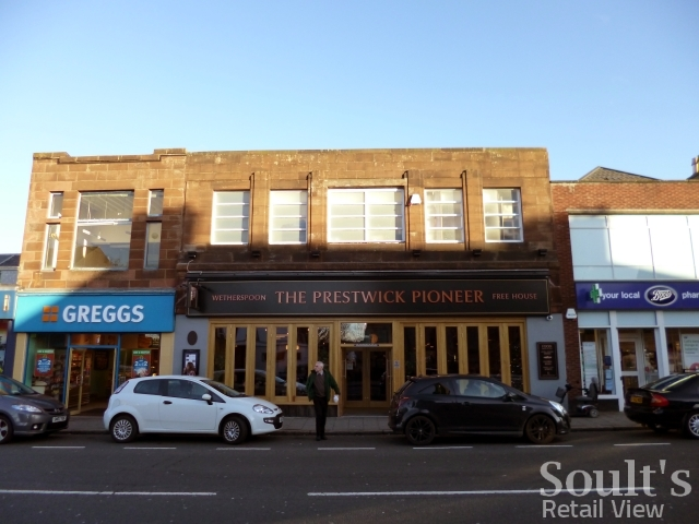 Former Woolworths (now Wetherspoon's), Prestwick (21 Nov 2012). Photograph by Graham Soult