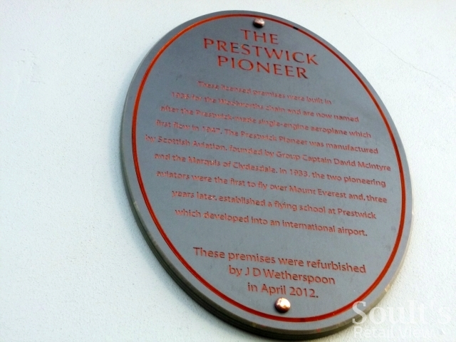 Plaque at former Woolworths (now Wetherspoon's), Prestwick (21 Nov 2012). Photograph by Graham Soult