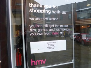 Closed-down HMV, Durham (26 Mar 2013). Photograph by Graham Soult
