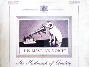 "1951 advert for HMV - ""The Hallmark of Quality"". Photograph by Graham Soult"