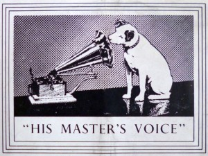 1951 advert for HMV, featuring the iconic Nipper image. Photograph by Graham Soult