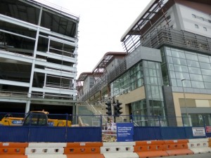 Trinity Steps, with Vue Cinema on left and Tesco Extra on right (21 Apr 2013). Photograph by Graham Soult