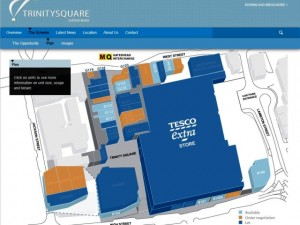 Letting plan from Trinity Square website, with let units in dark blue (19 May 2013)