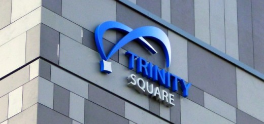 Scheme signage at Trinity Square, Gateshead (17 May 2013). Photograph by Graham Soult