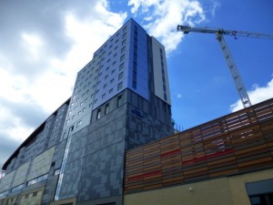 One of the student accommodation blocks (17 May 2013). Photograph by Graham Soult