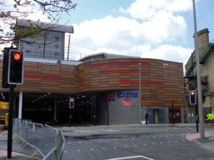 Tesco Extra signage at entrance to Trinity Square car park (17 May 2013). Photograph by Graham Soult