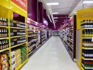 Beers, wines and spirits at Tesco Extra, Gateshead (17 May 2013). Photograph by Graham Soult