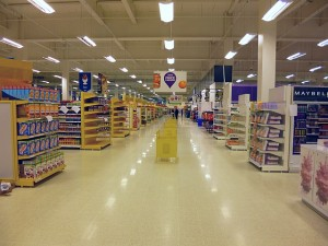 Central aisle at Tesco Extra, Gateshead (17 May 2013). Photograph by Graham Soult