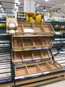 Wooden-style fruit display at Tesco Extra, Gateshead (17 May 2013). Photograph by Graham Soult