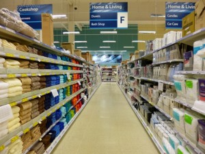 Home & Living aisle, Tesco Extra, Gateshead (17 May 2013). Photograph by Graham Soult