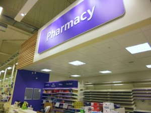 Pharmacy at Tesco Extra, Gateshead (17 May 2013). Photograph by Graham Soult